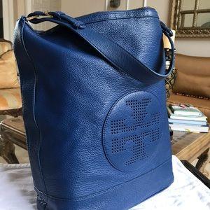 TORY BURCH Kipp Hobo Blue Leather SHOULDER BAG